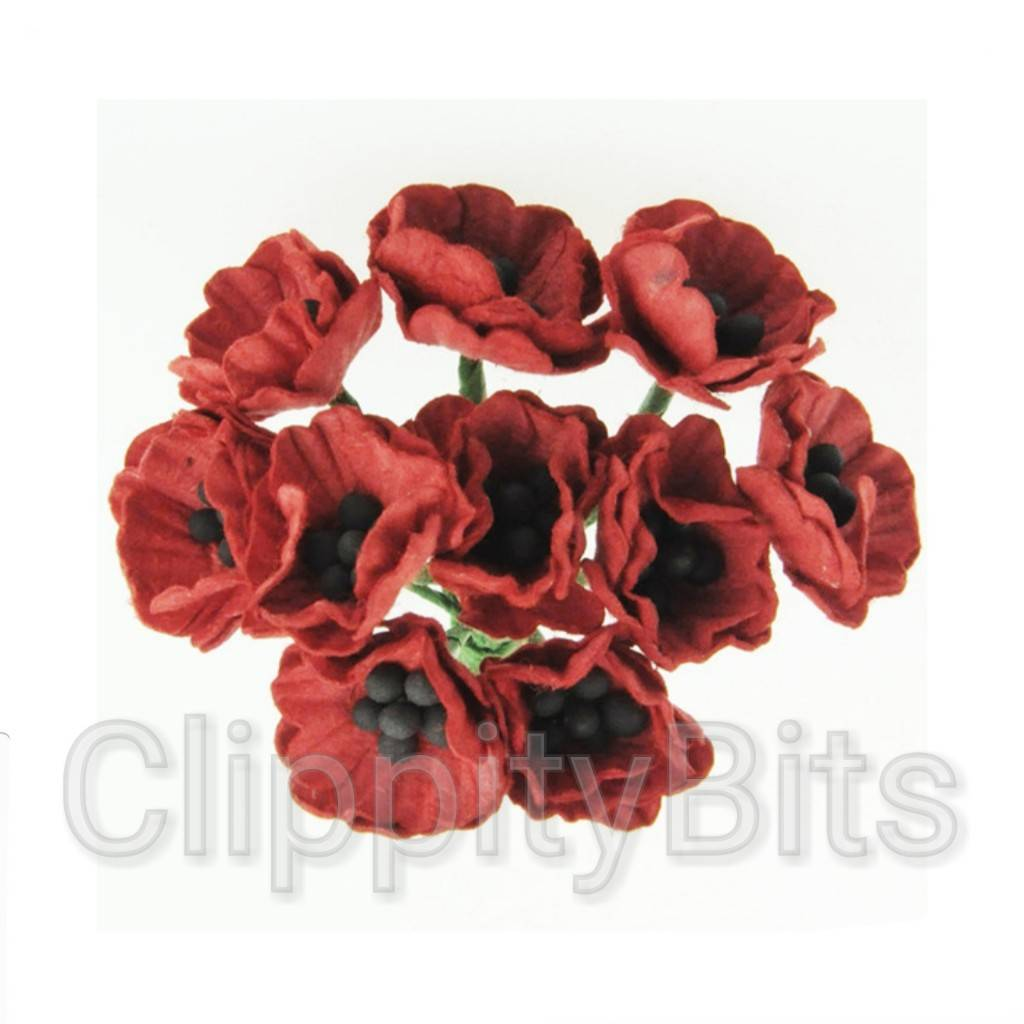 20mm Premium Paper Mulberry Red Poppy Flowers Clippitybits