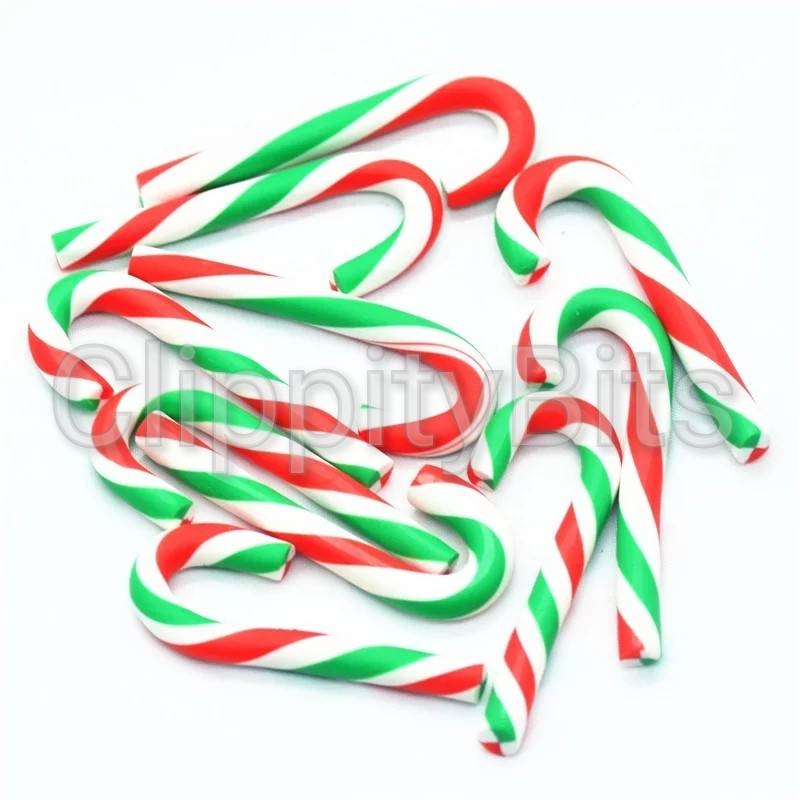 Christmas Candy Cane.Large Red White Green Fimo Clay Christmas Candy Cane Resin